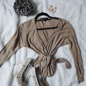 Sheer Tie Belt Sweater